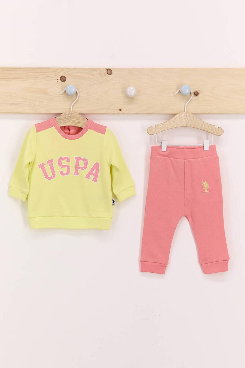 U.S. Polo Assn - U.S. Polo Assn Bebek Sarısı Kız Bebek Takımı