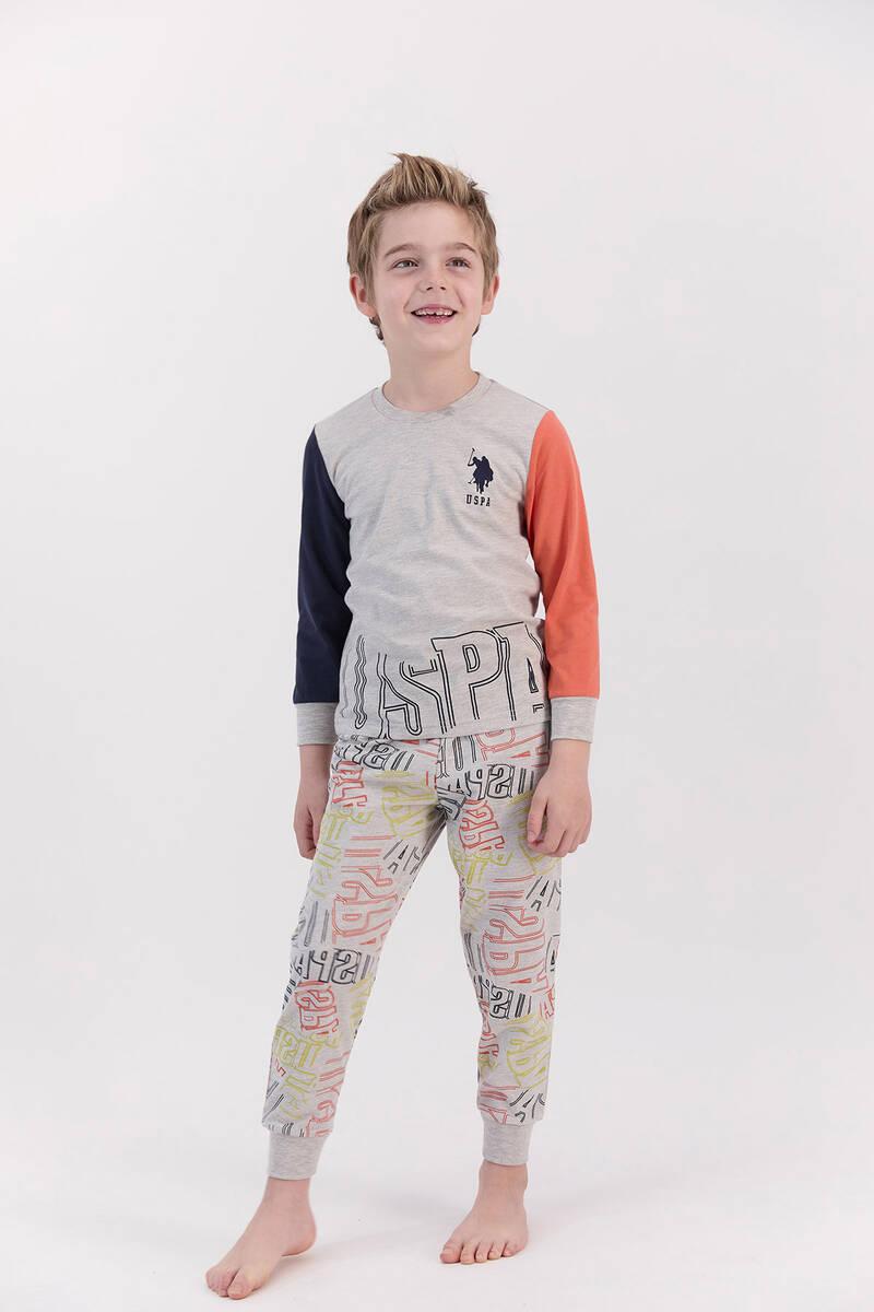 U.S. Polo Assn - U.S. Polo Assn Bejmelanj Turuncu Erkek Çocuk Pijama Takımı