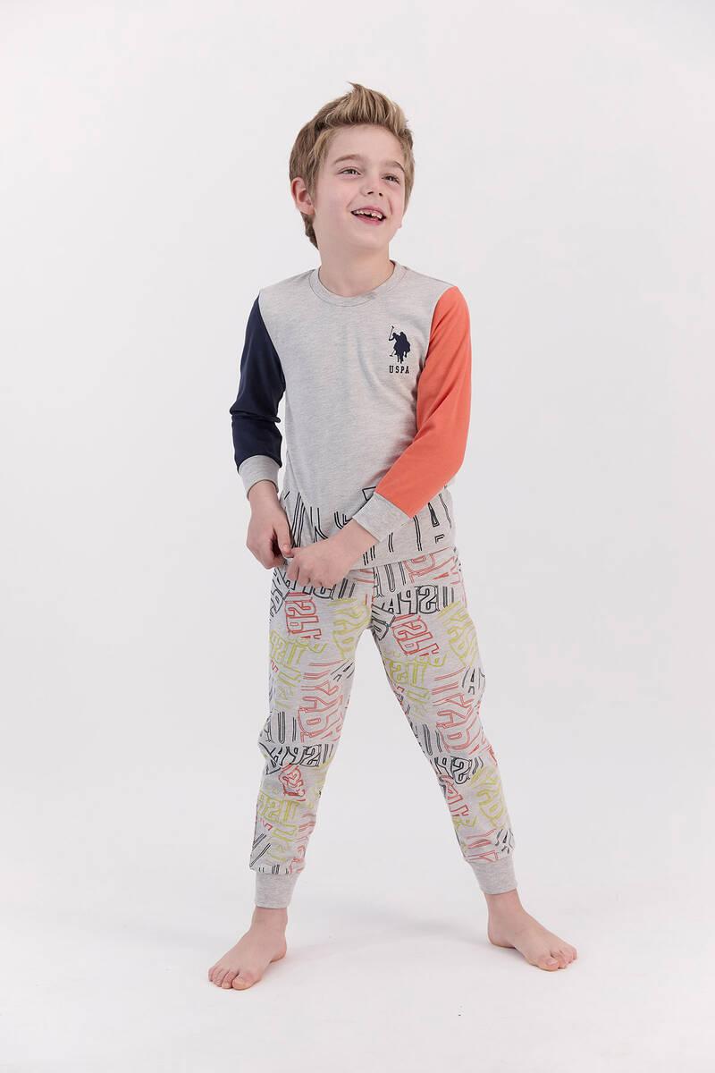 U.S. Polo Assn - U.S. Polo Assn Bejmelanj Turuncu Erkek Çocuk Pijama Takımı (1)