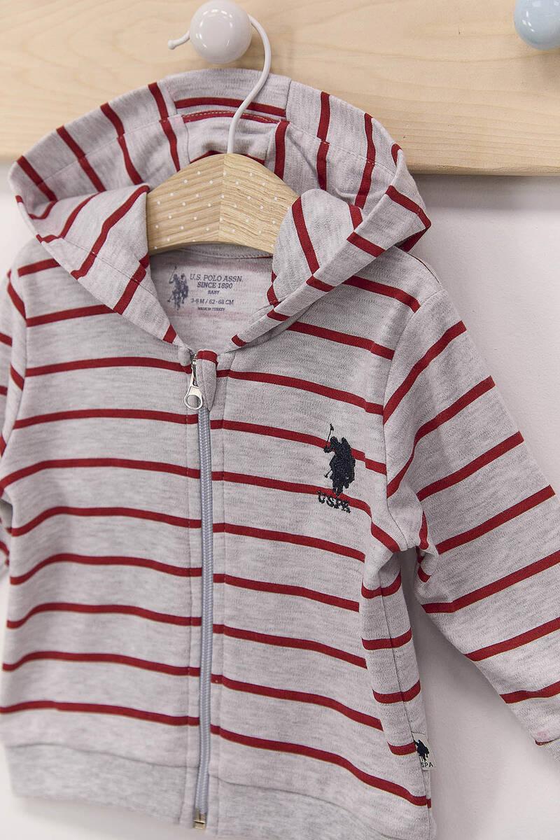 U.S. Polo Assn - U.S. Polo Assn Çizgili Karmelanj Erkek Bebek Kapşonlu Hırka (1)
