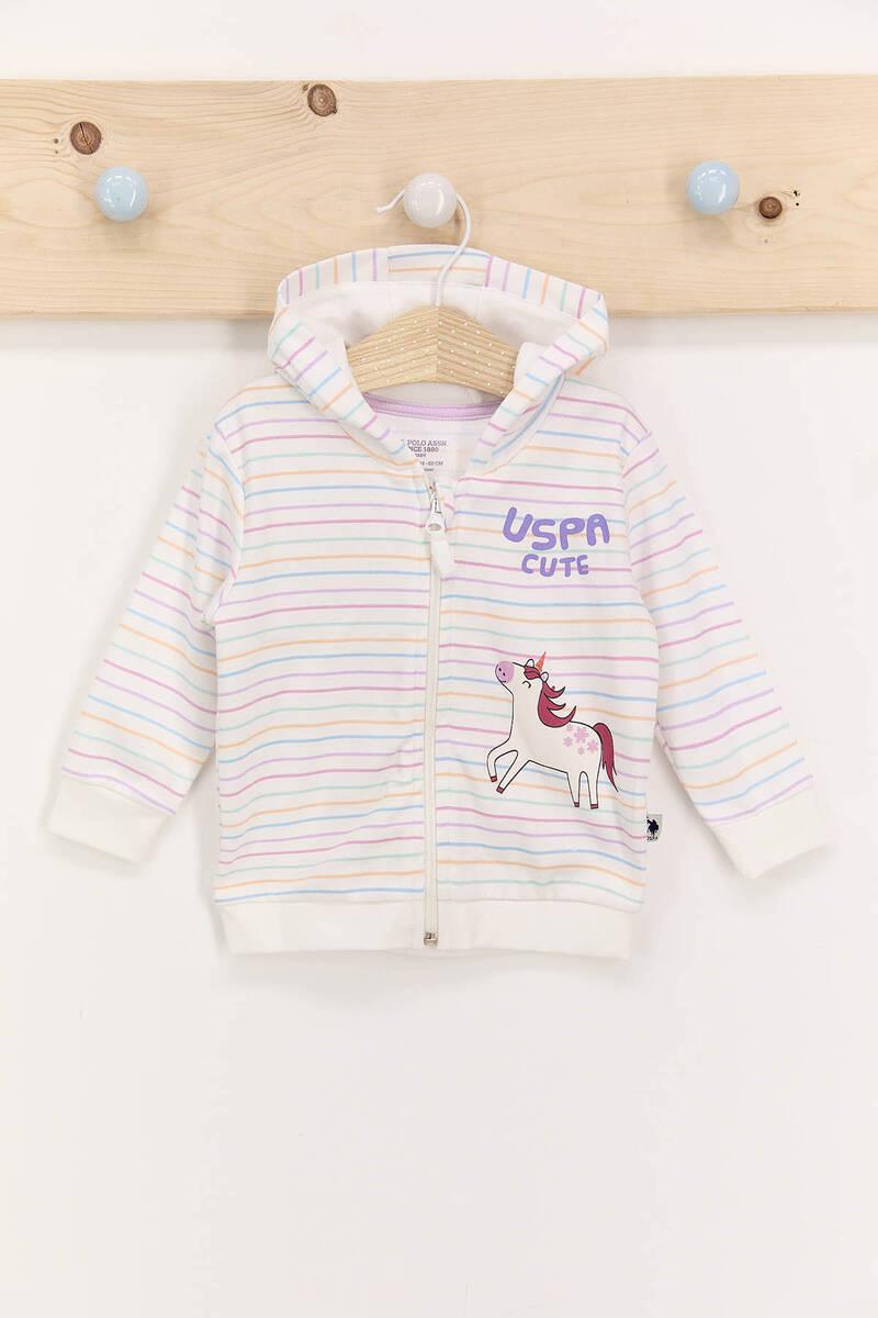 U.S. Polo Assn - U.S. Polo Assn Çizgili Krem Lila Kız Bebek Hırka