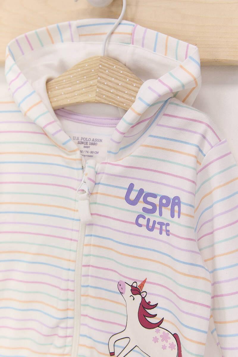 U.S. Polo Assn - U.S. Polo Assn Çizgili Krem Lila Kız Bebek Hırka (1)