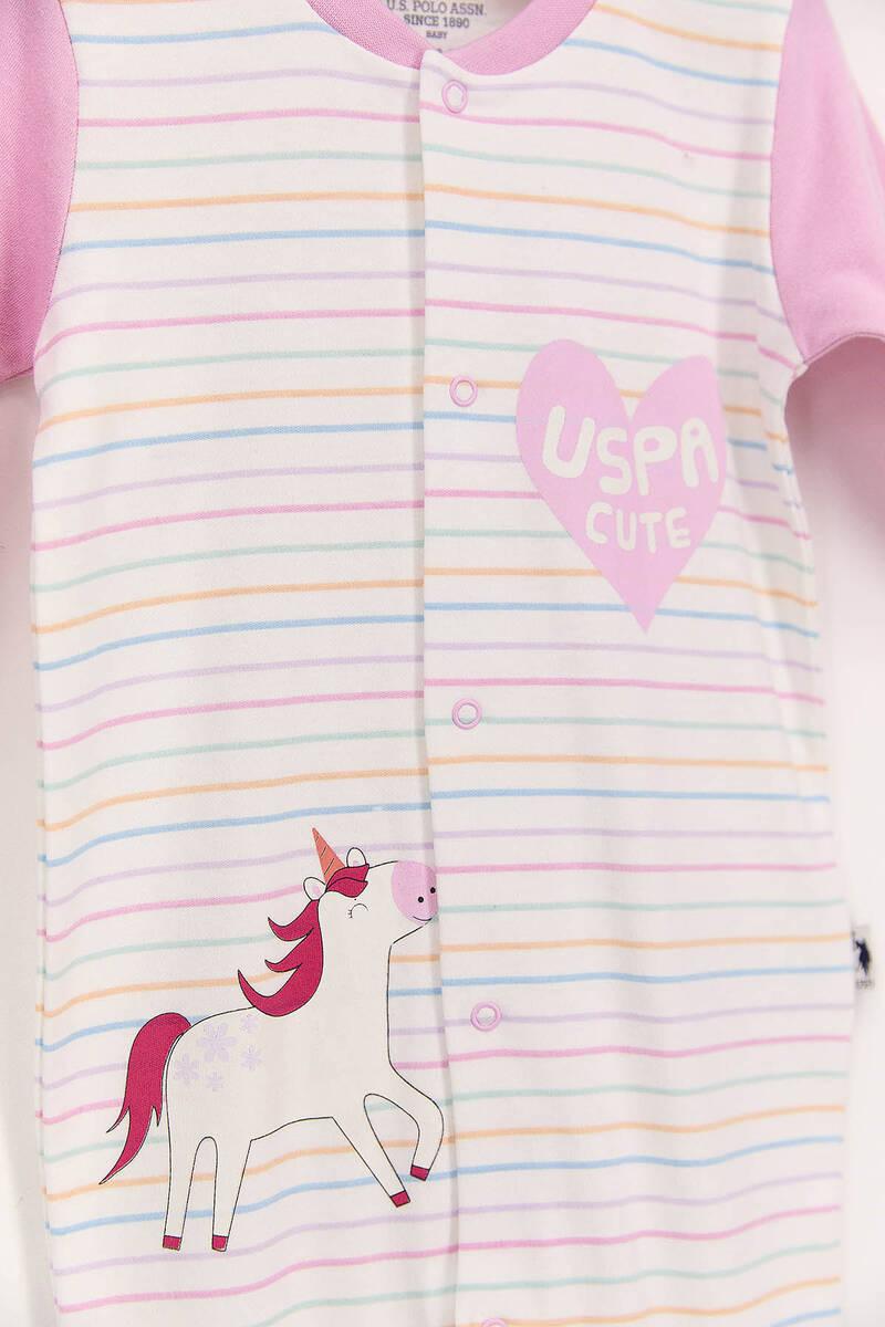 U.S. Polo Assn - U.S. Polo Assn Çizgili Krem Pembe Kız Bebek Uzun Kol Patikli Tulum (1)