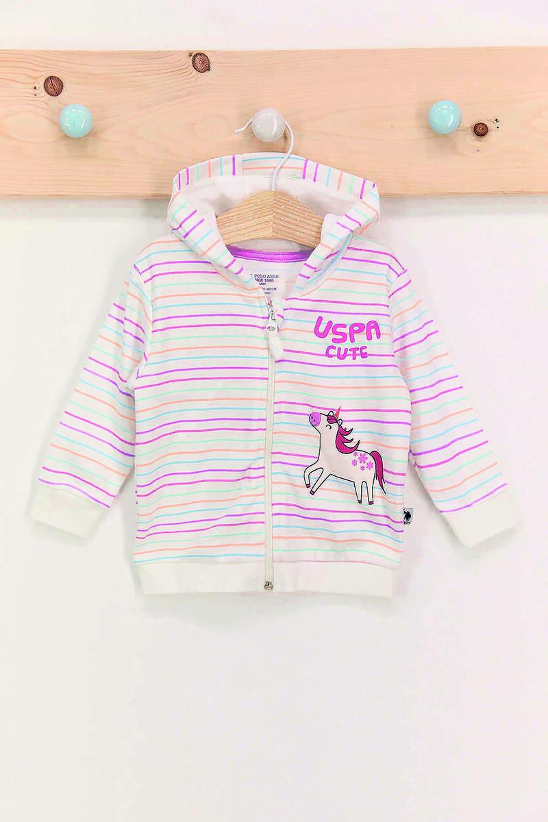 U.S. Polo Assn - U.S. Polo Assn Çizgili Krem Toz Pembe Kız Bebek Hırka