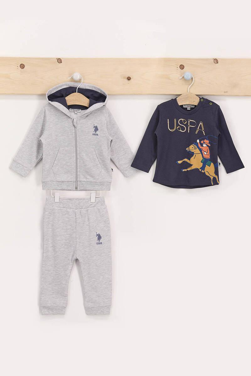 U.S. Polo Assn - U.S. Polo Assn Gri Erkek Bebek 3'Lü Eşofman Takımı (1)