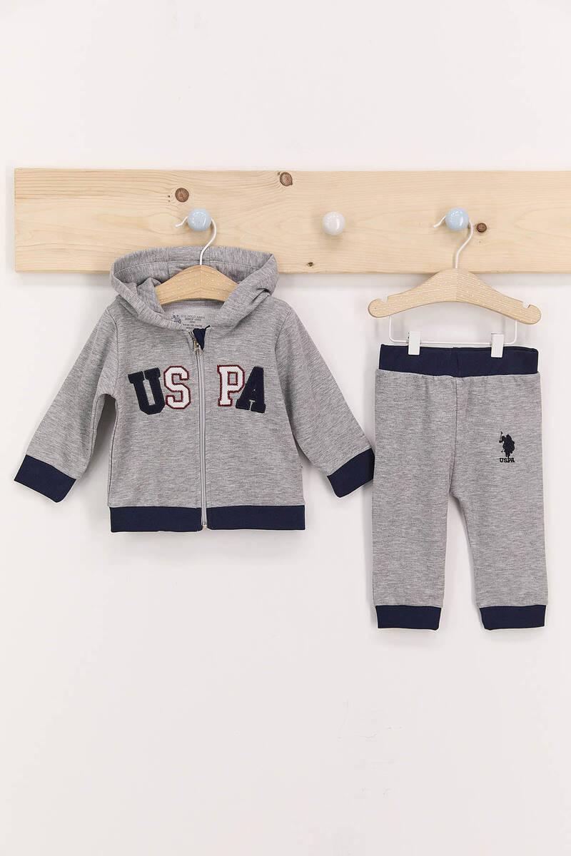 U.S. Polo Assn - U.S. Polo Assn Gri Erkek Bebek Kapşonlu Takım