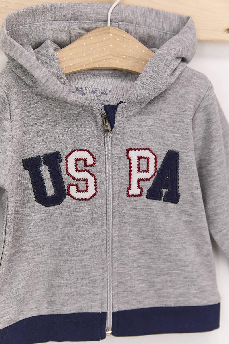 U.S. Polo Assn - U.S. Polo Assn Gri Erkek Bebek Kapşonlu Takım (1)