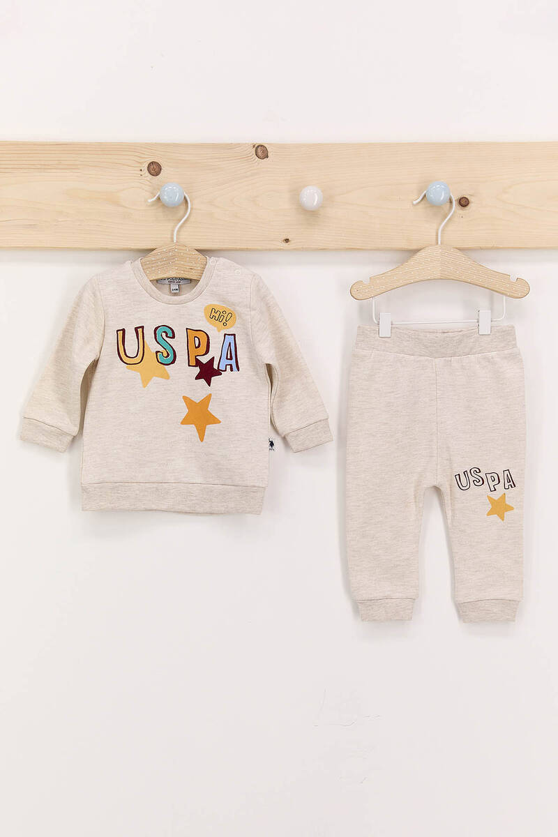 U.S. Polo Assn - U.S. Polo Assn Hi Kremmelanj Erkek Bebek Eşofman Takımı