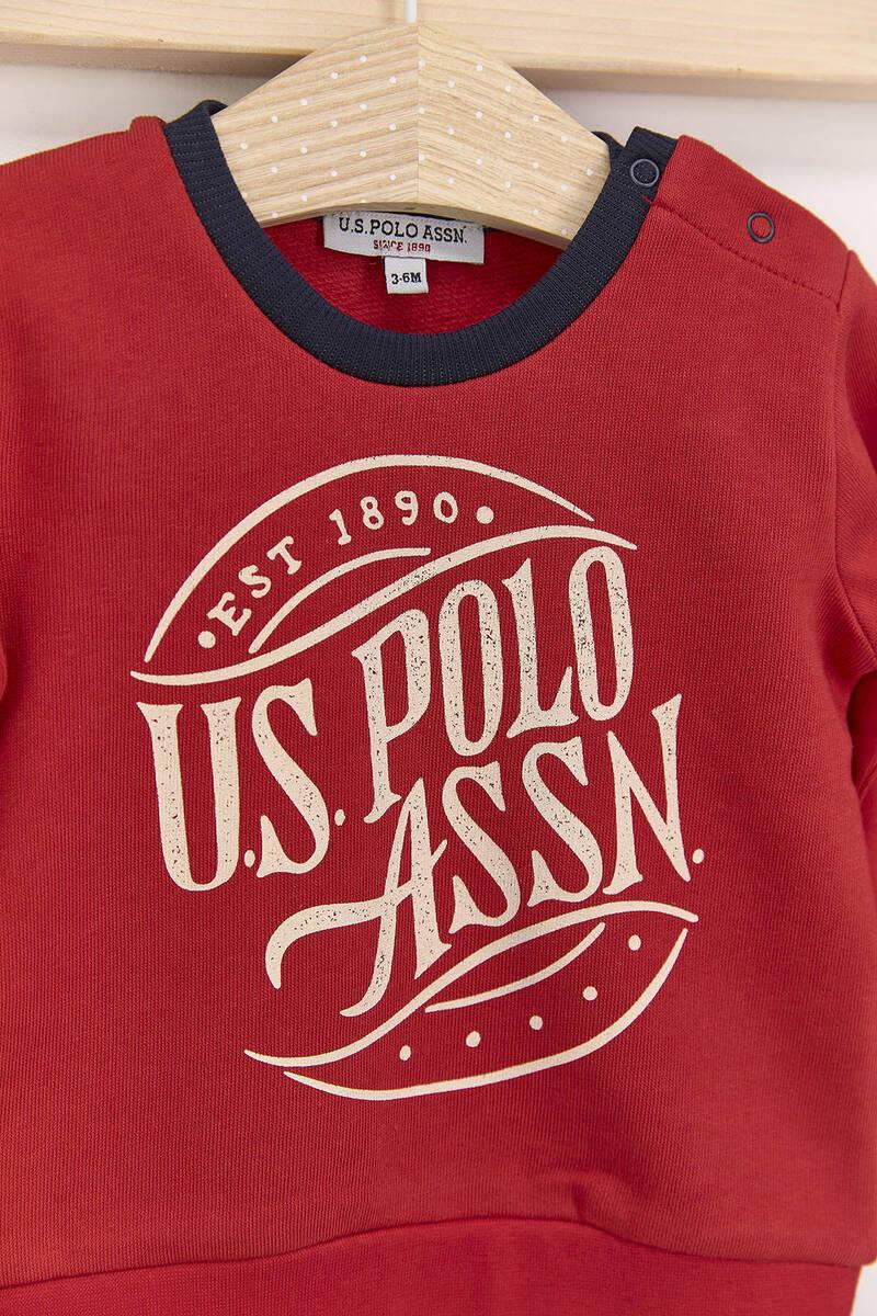 U.S. Polo Assn - U.S. Polo Assn Kırmızı Erkek Bebek Üç İplik Eşofman Takımı (1)