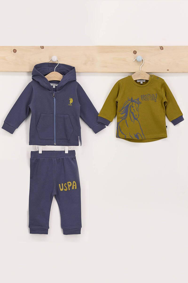 U.S. Polo Assn - U.S. Polo Assn Koyu İndigo Erkek Bebek 3'Lü Eşofman Takımı