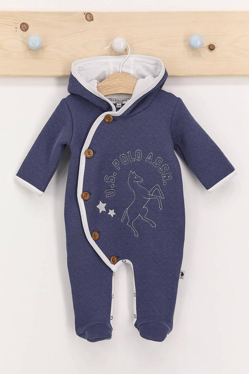 U.S. Polo Assn - U.S. Polo Assn Koyu İndigo Erkek Bebek Kapşolu Patikli Tulum
