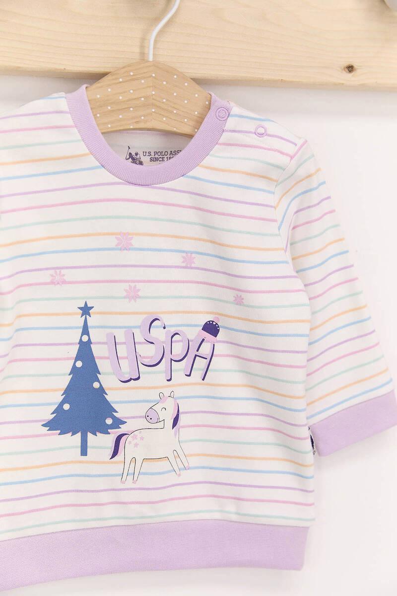 U.S. Polo Assn - U.S. Polo Assn Krem Lila Kız Bebek Takımı (1)