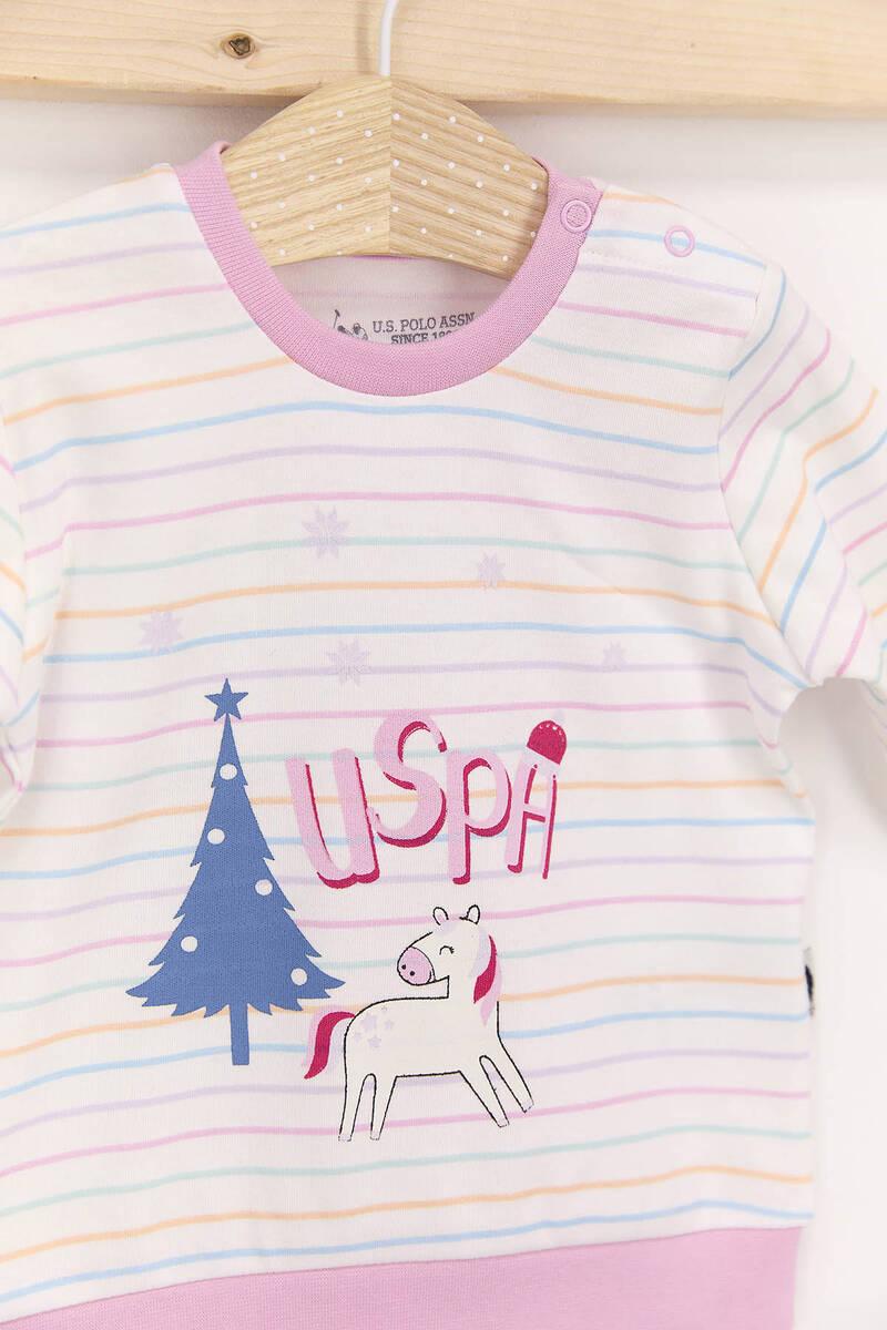 U.S. Polo Assn - U.S. Polo Assn Krem Pembe Kız Bebek Takımı (1)