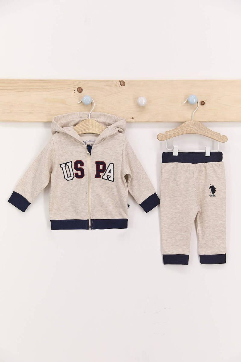 U.S. Polo Assn - U.S. Polo Assn Kremmelanj Erkek Bebek Kapşonlu Takım
