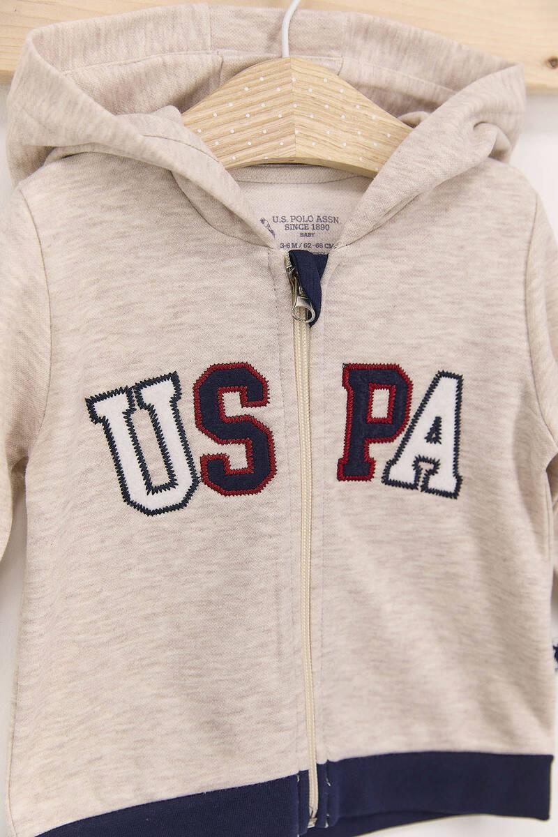 U.S. Polo Assn - U.S. Polo Assn Kremmelanj Erkek Bebek Kapşonlu Takım (1)