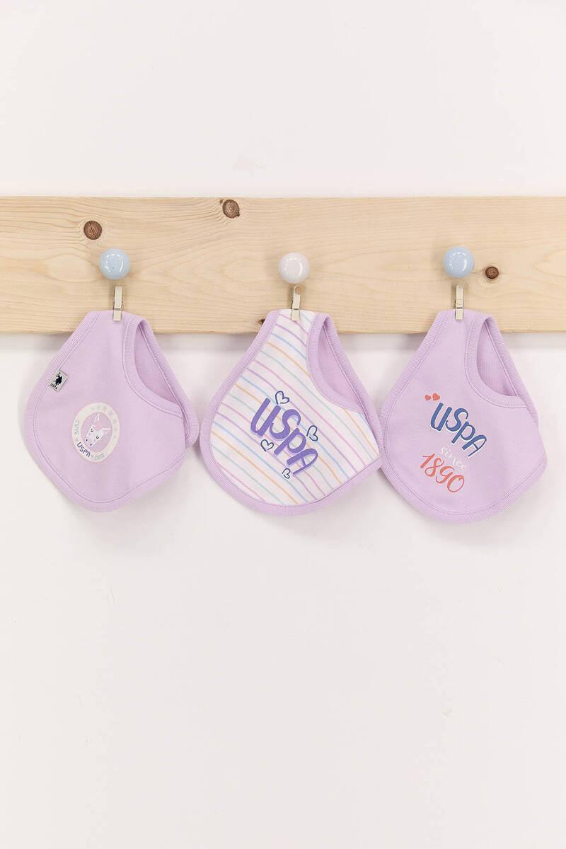 U.S. Polo Assn - U.S. Polo Assn Lila Kız Bebek 3'Lü Mama Önlüğü Seti