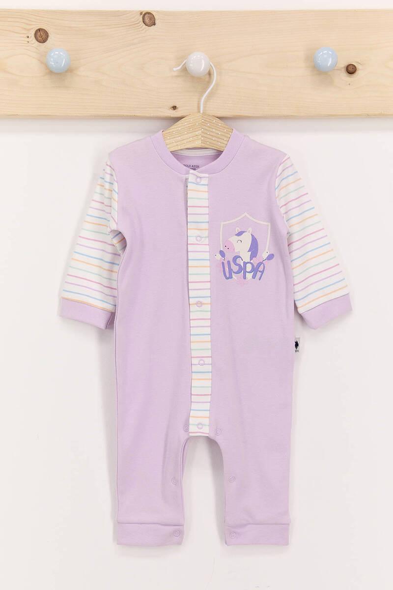 U.S. Polo Assn - U.S. Polo Assn Lila Kız Bebek Uzun Kol Tulum