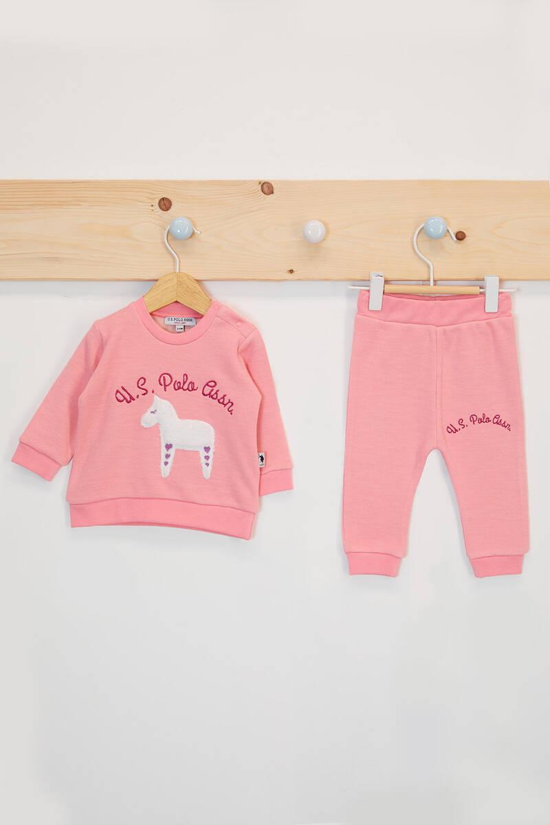 U.S. Polo Assn - U.S. Polo Assn Lisanslı Açık Coral Kız Bebek Uzun Kol Takım