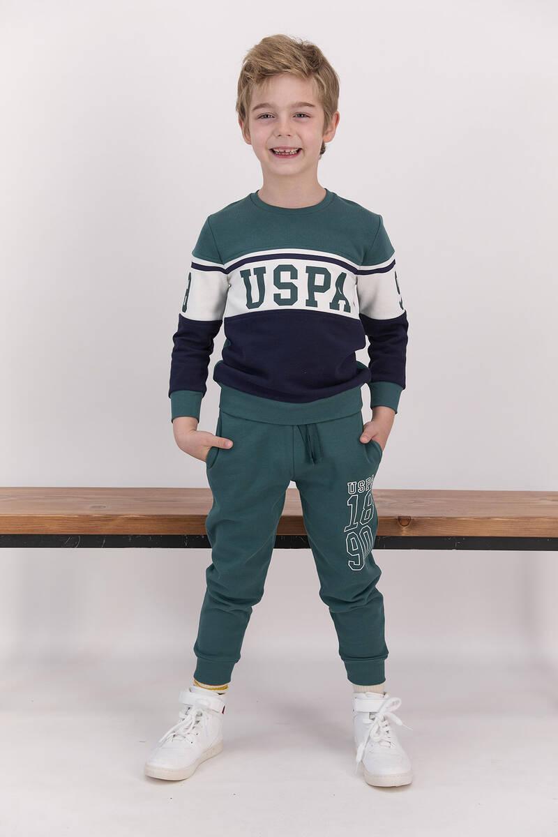 U.S. Polo Assn - U.S. Polo Assn Lisanslı Classic Koyu Haki Erkek Çocuk Bisiklet Yaka Eşofman Takımı