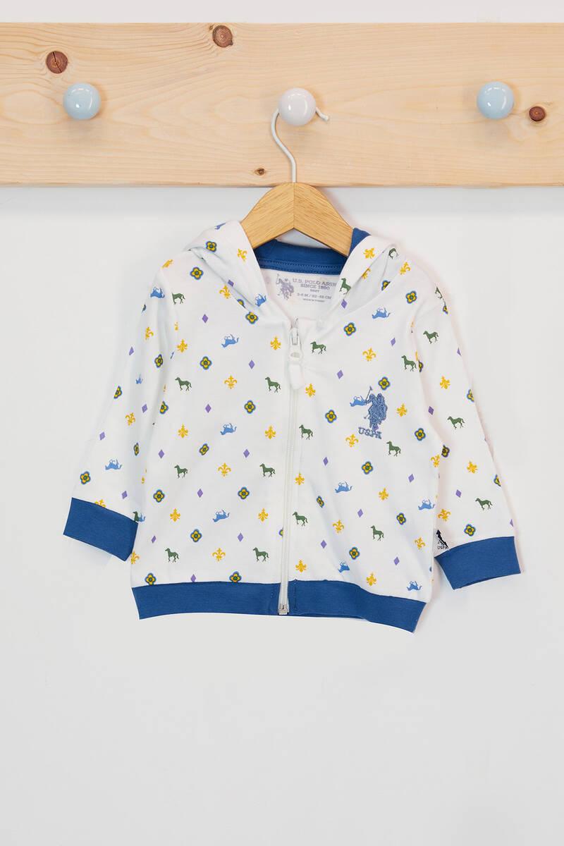 U.S. Polo Assn - U.S. Polo Assn Lisanslı Krem Erkek Bebek Kapşonlu Hırka