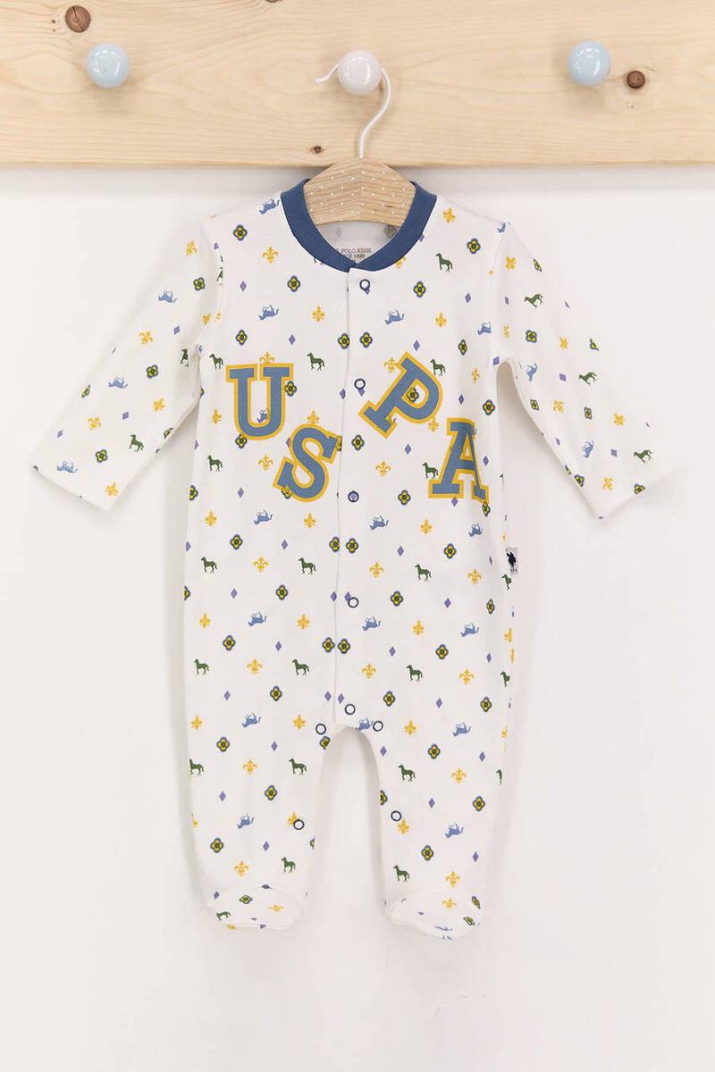 U.S. Polo Assn - U.S. Polo Assn Lisanslı Krem Erkek Bebek Patikli Çıtçıtlı Tulum