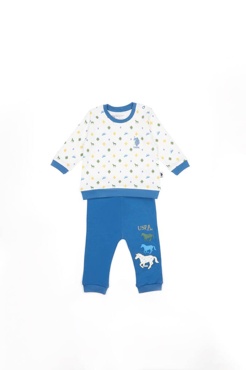 U.S. Polo Assn - U.S. Polo Assn Lisanslı Krem Erkek Bebek Takımı