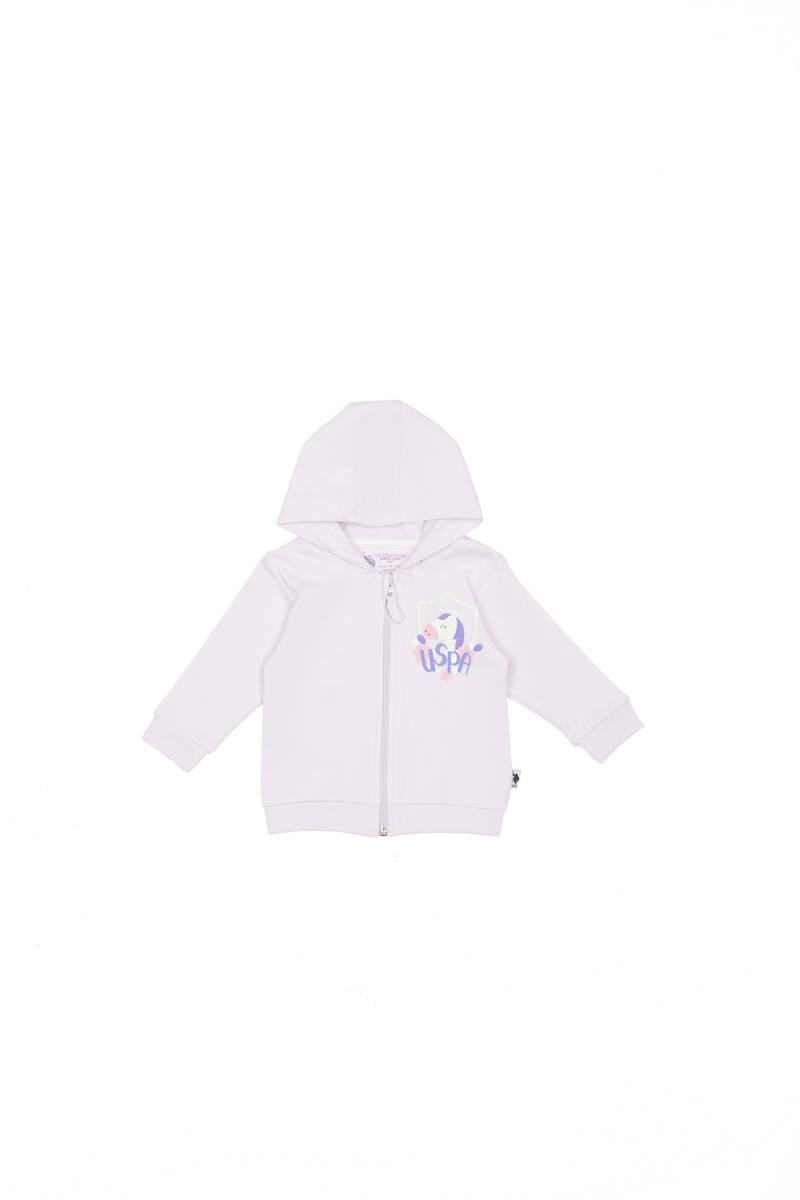 U.S. Polo Assn - U.S. Polo Assn Lisanslı Krem Lila Kız Bebek Kapşonlu Hırka