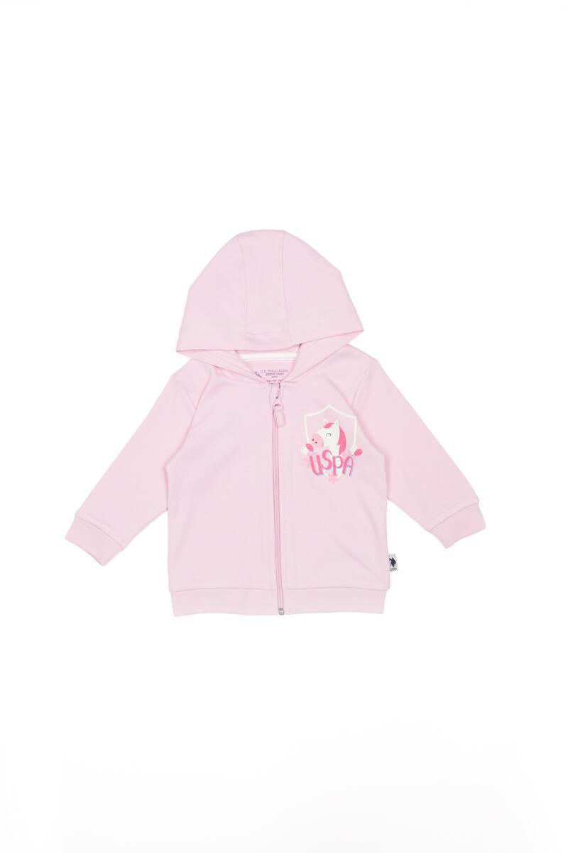 U.S. Polo Assn - U.S. Polo Assn Lisanslı Krem Toz Pembe Kız Bebek Kapşonlu Hırka