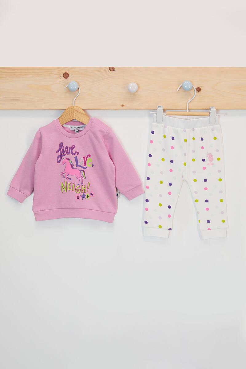 U.S. Polo Assn - U.S. Polo Assn Lisanslı Love Neigh Açık Gül Kurusu Kız Bebek Takımı