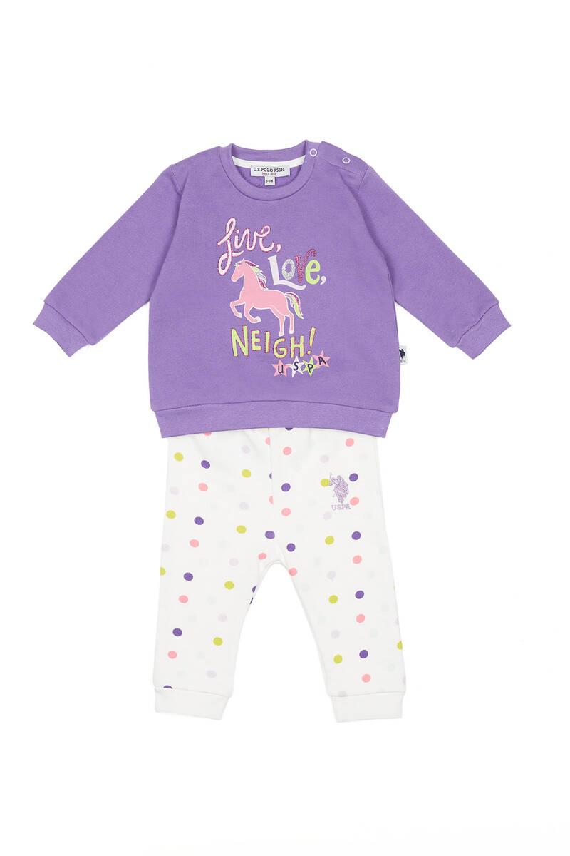 U.S. Polo Assn - U.S. Polo Assn Lisanslı Love Neigh Violet Kız Bebek Takımı