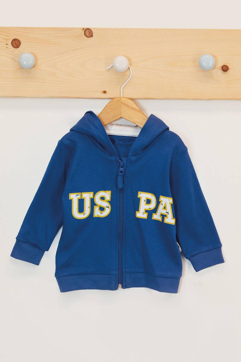 U.S. Polo Assn - U.S. Polo Assn Lisanslı Mat İndigo Erkek Bebek Kapşonlu Hırka