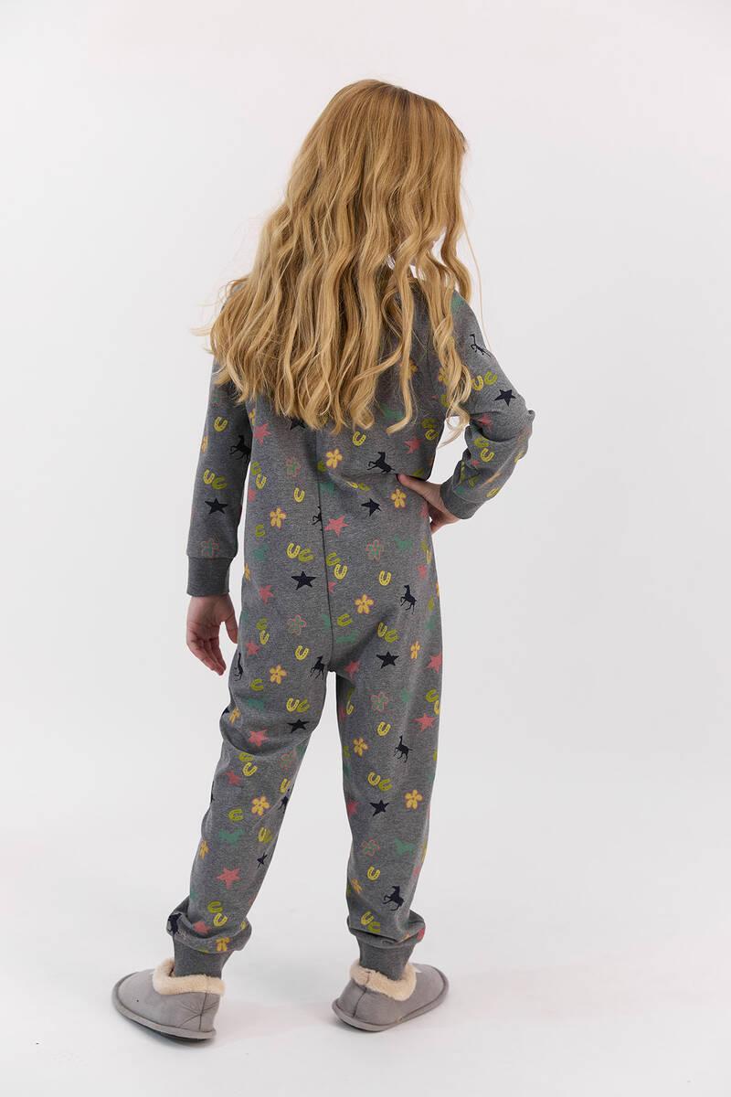 U.S. Polo Assn - U.S. Polo Assn Lisanslı Yıldızlı Antrasitmelanj Kız Çocuk Fermuarlı Tulum (1)