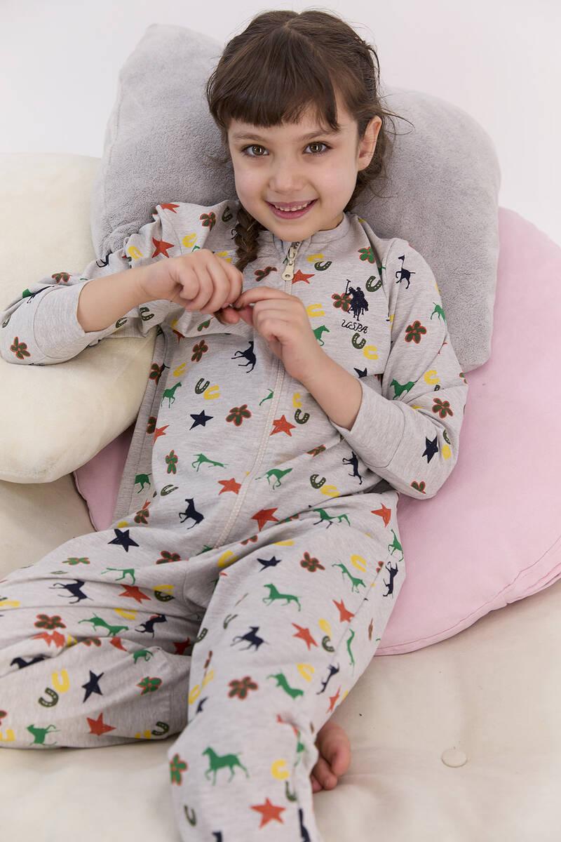 U.S. Polo Assn - U.S. Polo Assn Lisanslı Yıldızlı Bejmelanj Kız Çocuk Fermuarlı Tulum (1)