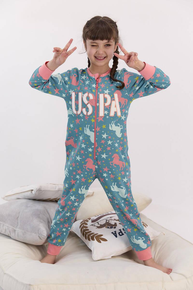 U.S. Polo Assn - U.S. Polo Assn Lisanslı Yıldızlı Koyu Petrol Kız Çocuk Fermuarlı Tulum