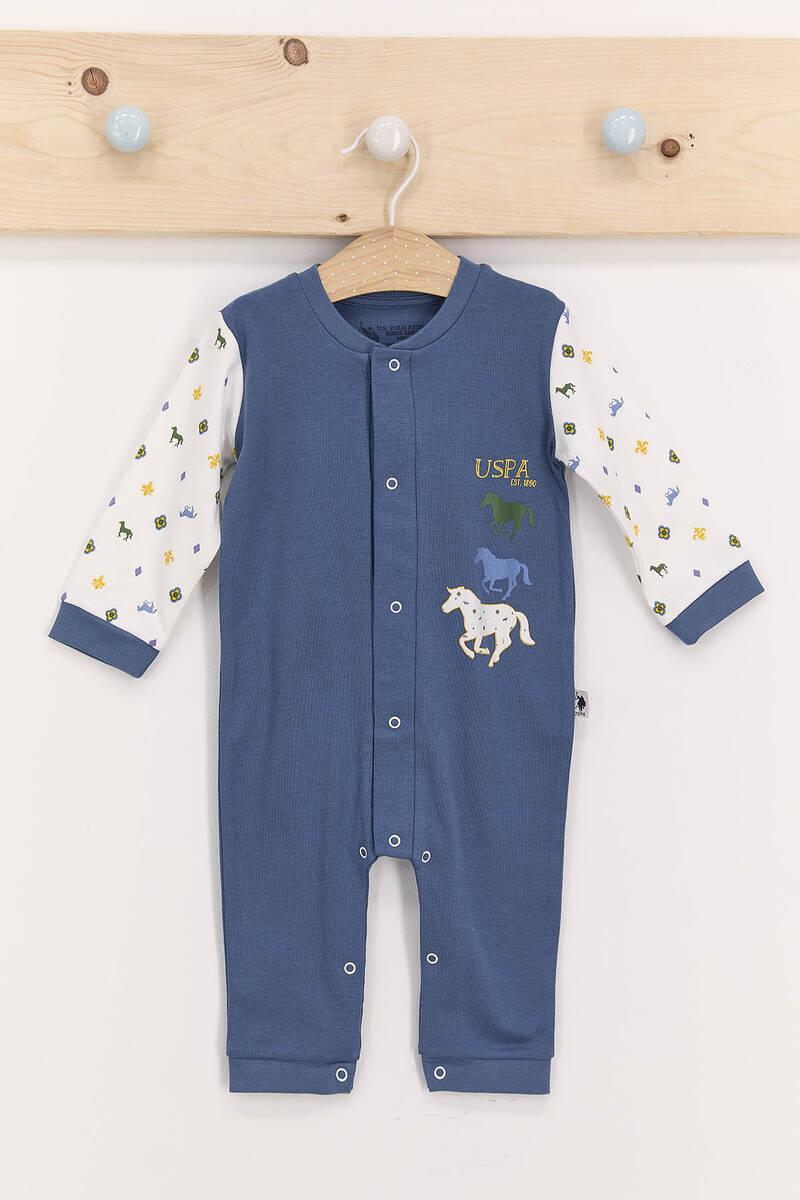 U.S. Polo Assn - U.S. Polo Assn Mat İndigo Erkek Bebek Uzun Kol Patiksiz Tulum