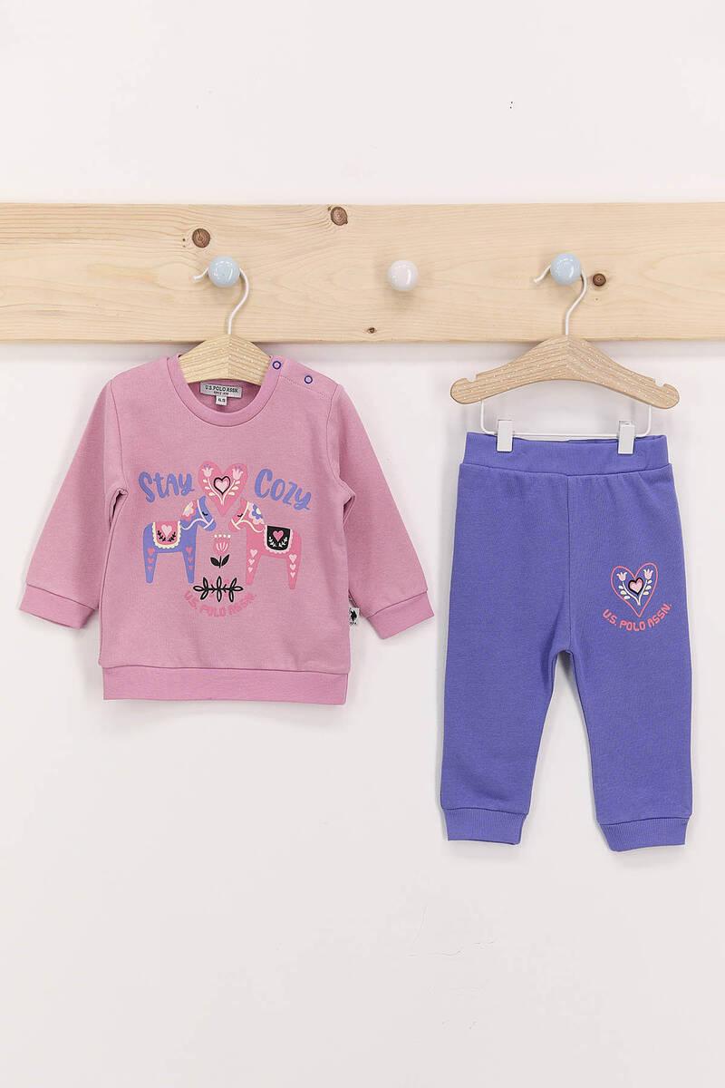 U.S. Polo Assn - U.S. Polo Assn Stay Cozy Açık Gül Kurusu Kız Bebek Takım