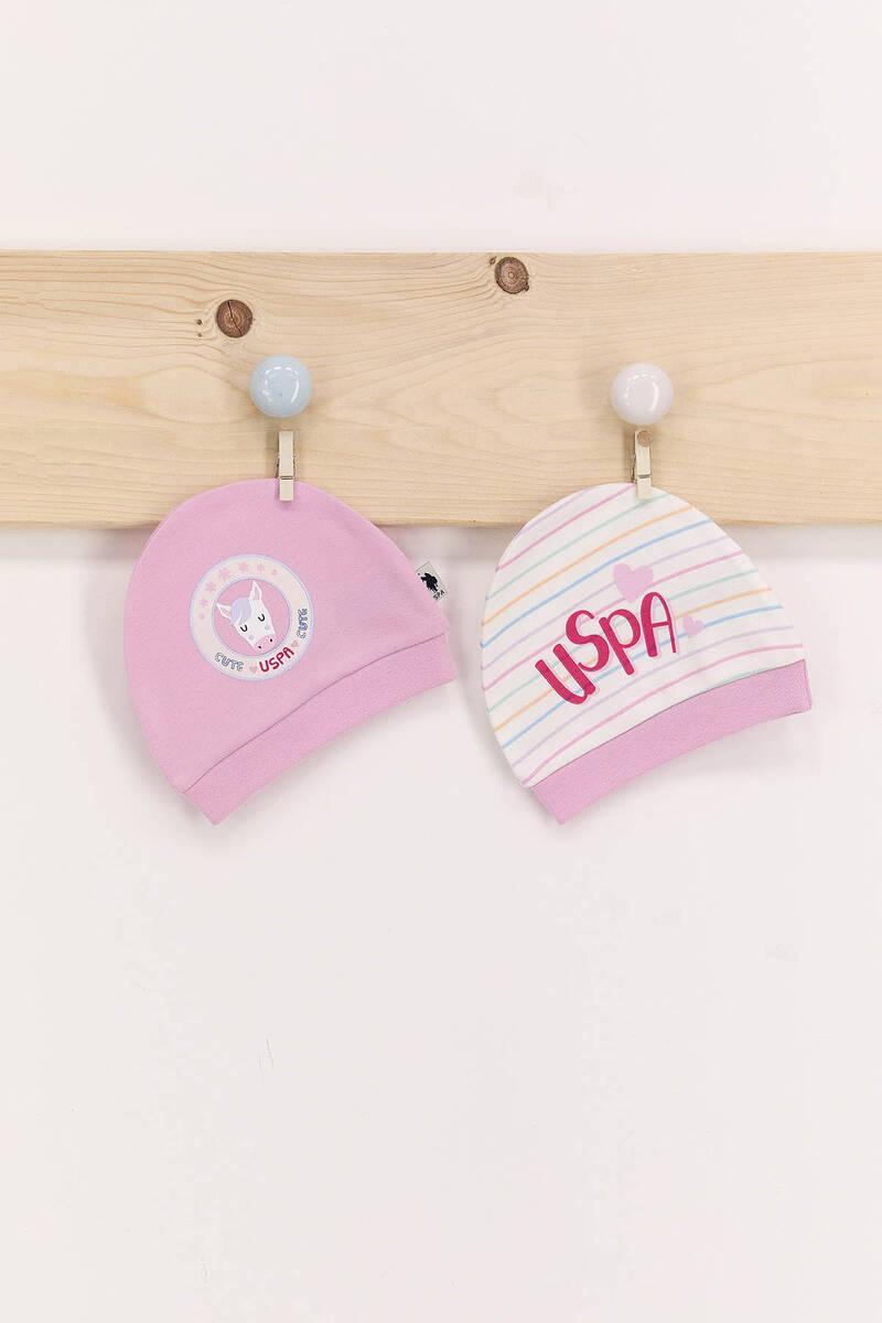 U.S. Polo Assn - U.S. Polo Assn Toz Pembe Kız Bebek 2'Li Şapka Seti