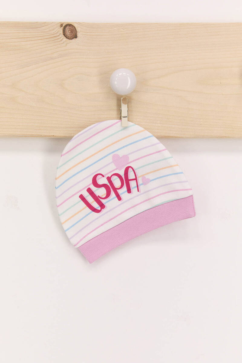 U.S. Polo Assn - U.S. Polo Assn Toz Pembe Kız Bebek 2'Li Şapka Seti (1)