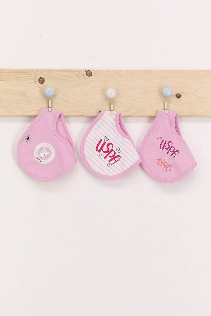 U.S. Polo Assn - U.S. Polo Assn Toz Pembe Kız Bebek 3'Lü Mama Önlüğü Seti