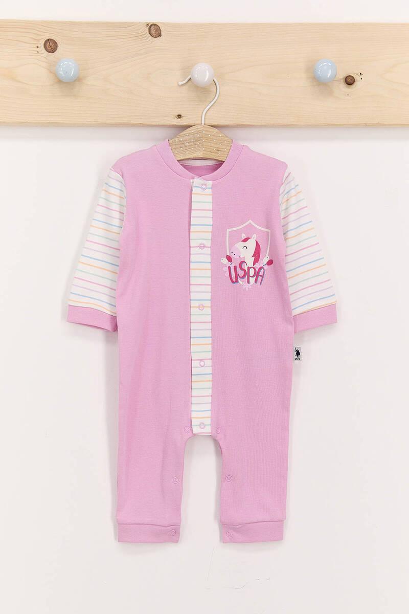 U.S. Polo Assn - U.S. Polo Assn Toz Pembe Kız Bebek Uzun Kol Tulum