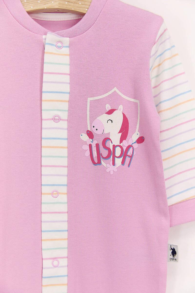 U.S. Polo Assn - U.S. Polo Assn Toz Pembe Kız Bebek Uzun Kol Tulum (1)