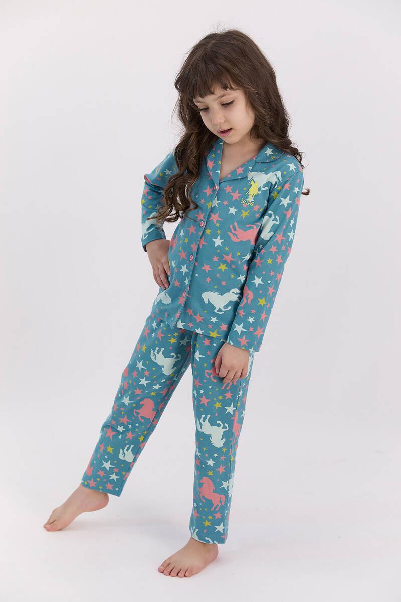 U.S. Polo Assn - U.S. Polo Assn Yıldızlı Koyu Petrol Gömlek Pijama Takımı