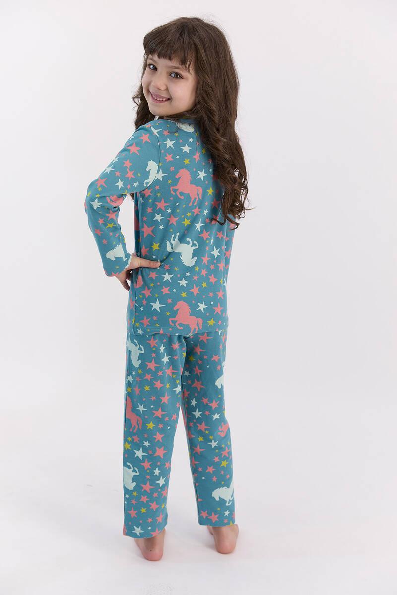 U.S. Polo Assn - U.S. Polo Assn Yıldızlı Koyu Petrol Gömlek Pijama Takımı (1)