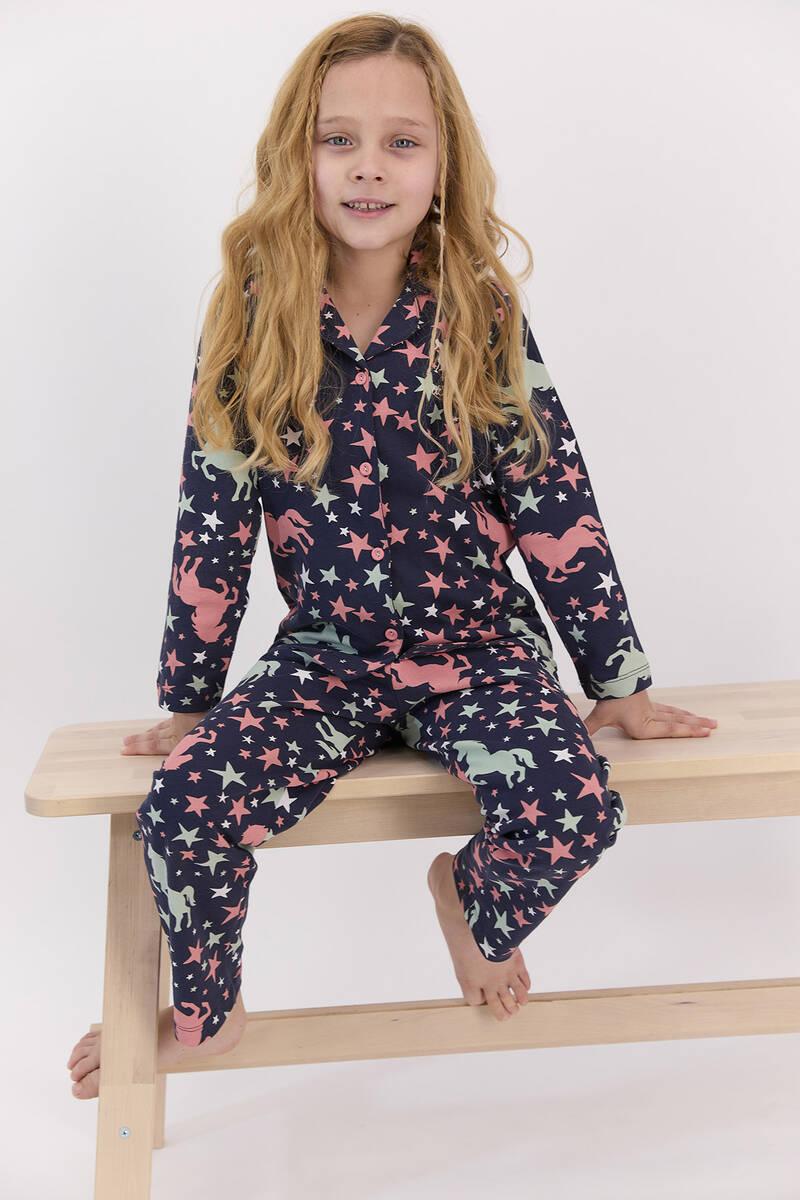 U.S. Polo Assn - U.S. Polo Assn Yıldızlı Lacivert Gömlek Pijama Takımı (1)