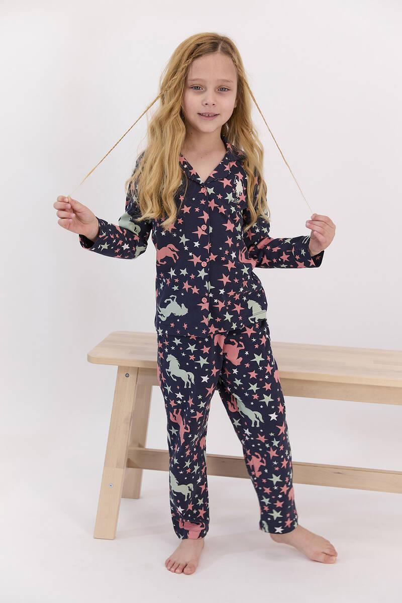U.S. Polo Assn - U.S. Polo Assn Yıldızlı Lacivert Gömlek Pijama Takımı