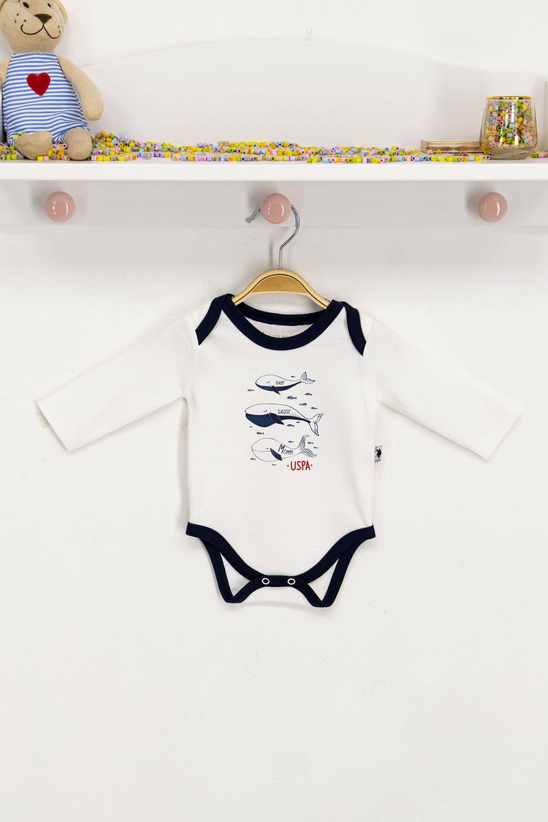 U.S. Polo Assn - U.S. Polo Assn Lisanslı Krem Bebek Body Zıbın
