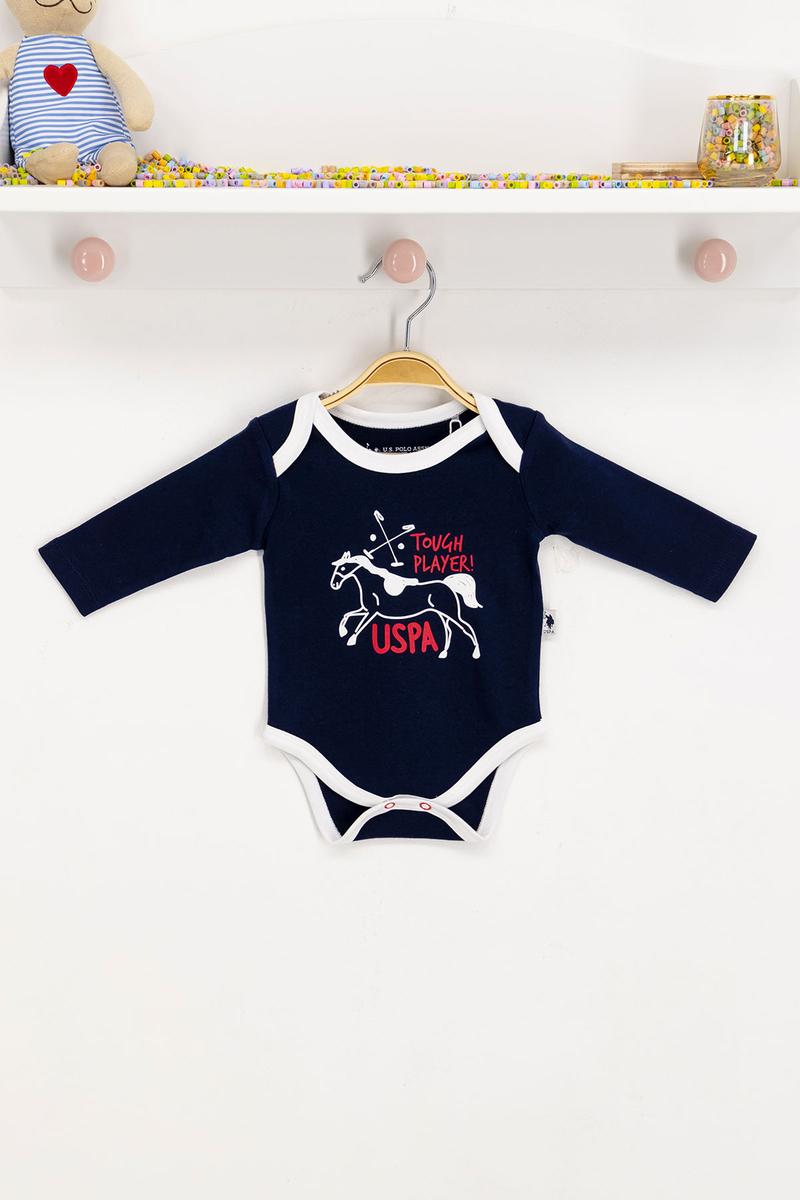 U.S. Polo Assn - U.S. Polo Assn Lisanslı Lacivert Bebek Body Zıbın