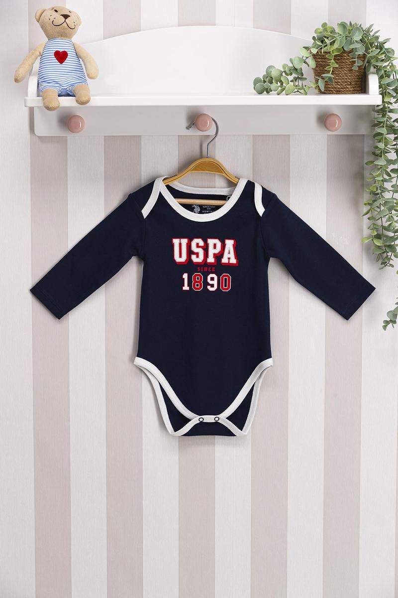 U.S. Polo Assn - U.S. Polo Assn Lisanslı Lacivert Kırmızı Bebek Body Zıbın