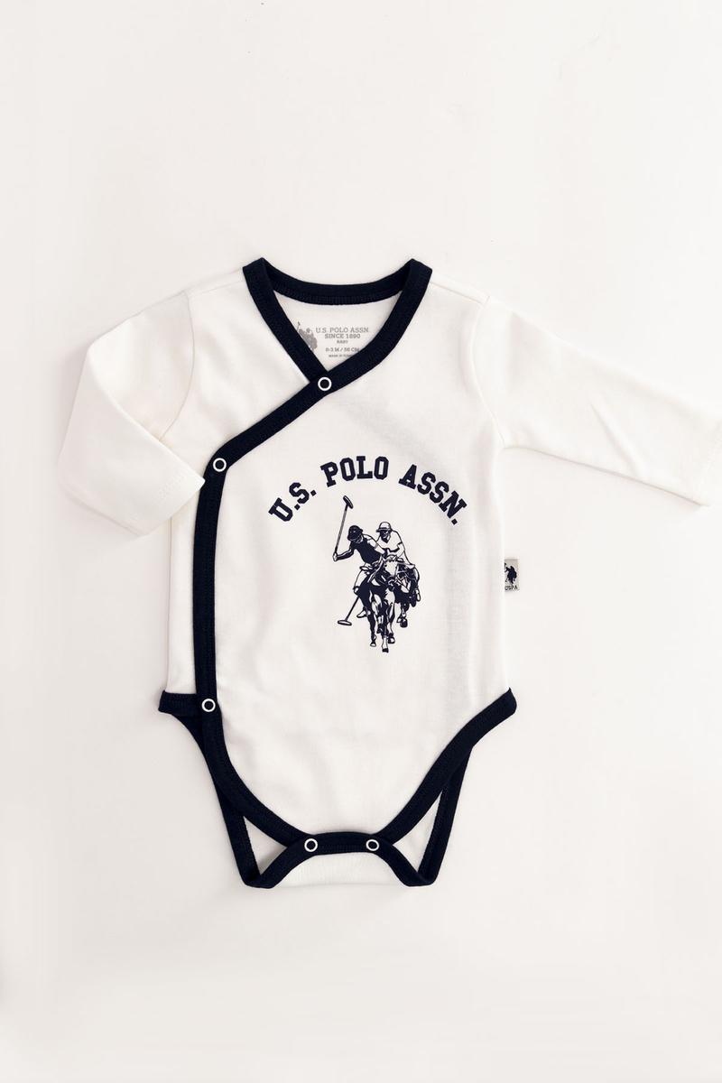 U.S. Polo Assn - U.S. Polo Assn Lisanslı Krem Bebek 2'Li Body Zıbın (1)