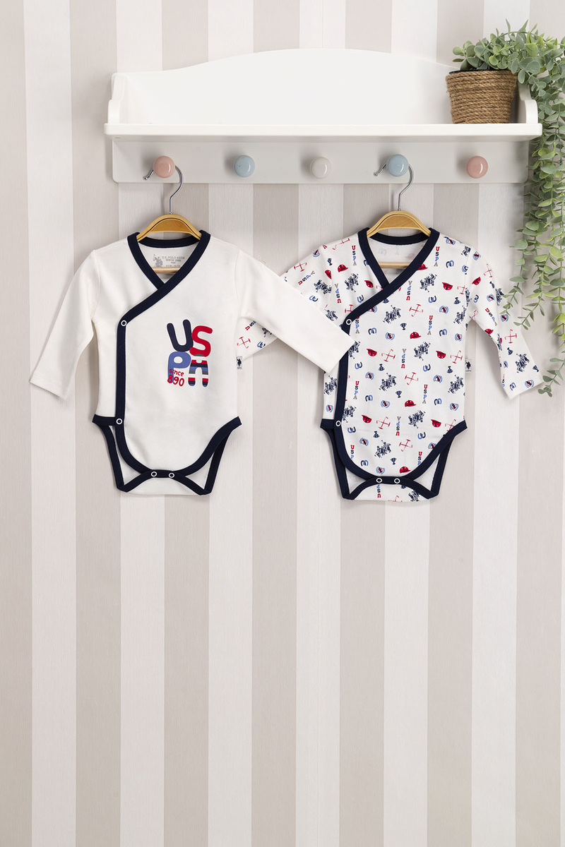 U.S. Polo Assn - U.S. Polo Assn Lisanslı Lacivert Krem Bebek 2'Li Body Zıbın
